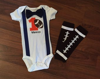 Football inspired first birthday outfit. Baby boy first birthday, football first Birthday, football party theme
