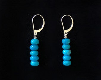 Natural Blue Arizona Kingman Turquoise and Sterling Silver Lever Back Drop Earrings