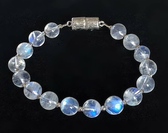 AAA Moonstone Beaded Bracelet with Magnetic Clasp