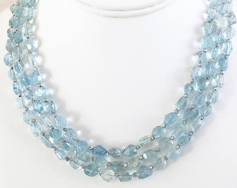 Faceted Aquamarine Double Triple Strand Necklace with Swarovski Crystal and Pearl Embellished Box Clasp