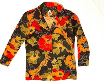 """AVALONIA 1970's """"Dell"""" long sleeve floral button up blouse Sz Med - Lg"""