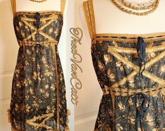 Vintage 1990's Betsey Johnson New York Sheer Floral Lace Lingerie dress with ribbons boho Prairie romantic