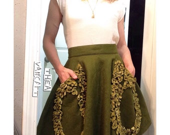 OOAK -  High Waisted HANDMADE - VINTAGE Skirt! Olive Green with 2 Pockets & Felt Flowers !