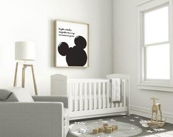 Mickey, Disney Quote, Black and White, Silhouette, Digital Print, Nursery Decor, Art