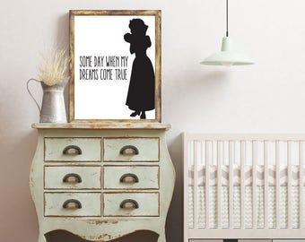 Snow White, Disney Quote, Black and White, Silhouette, Digital Print, Nursery Decor, Art