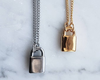 48234e1714 Lock Necklace Gold - Silver pad lock necklace - mens stainless steel  Minimal necklace - lock necklace for women - matching couples necklace