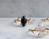 Gemstone Rings Gold - SILVER gemstone ring for women - Natural crystal claw ring - Marquise diamond ring - Amethyst - labradorite - Garnet