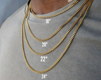 961e177fc01 Cuban link curb chain - Mens 18k gold Cuban link necklace - silver  stainless steel chain for men - quality necklace jewelry for him