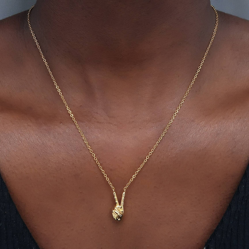 peace hands charm necklace gold Hand necklace Gold Womens necklace Peace Sign Necklace Hands necklace mens necklace