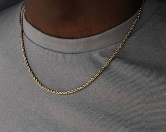 Rope Chain  - 18k gold rope chain - Gold Twist chain - 3mm gold chain for men - Rope Necklace - Mens necklace 18k gold - Jewelry gift him