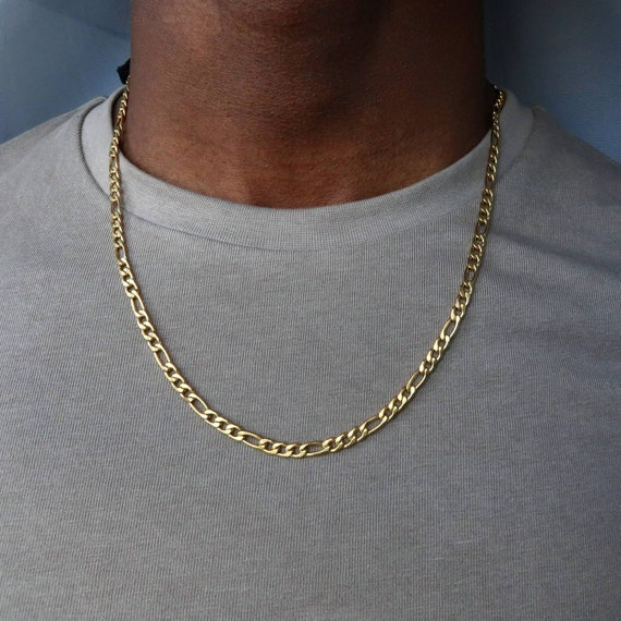Gold Figaro Necklace 18k Gold Plated Mens Necklace Figaro Etsy