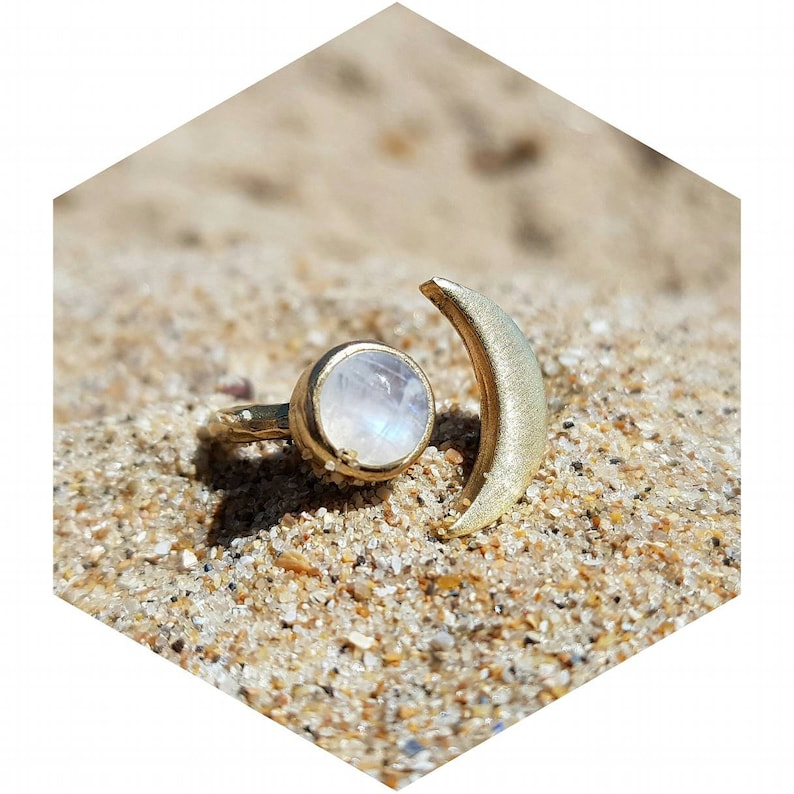 Moonstone Ring Gold   Crescent Moon Gemstone Ring For Women   Bohemian Moon Ring   Gift For Her   Minimalist Ring by Etsy
