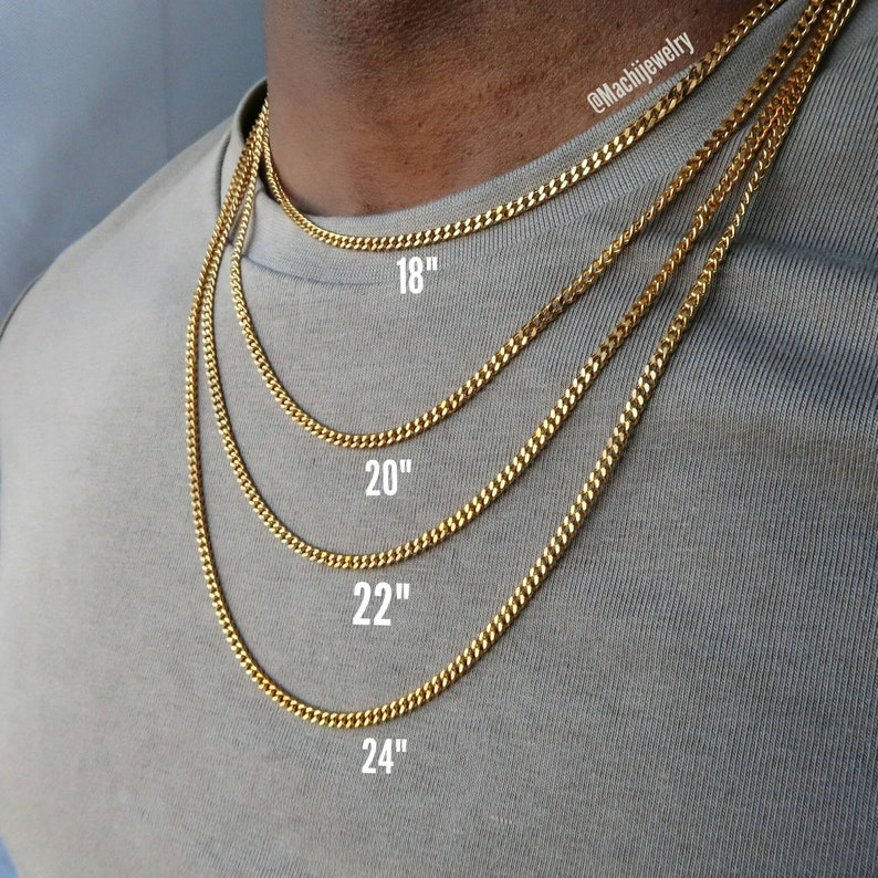 934ad134404 Cuban link curb chain - Mens 18k gold Cuban link necklace - silver  stainless steel chain for men - quality necklace jewelry for him