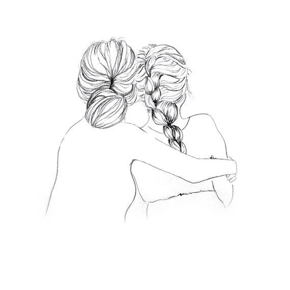 Mamma E Figlia Disegno.Mother S Hug Custom Mother Daughter Girlfriends Etsy