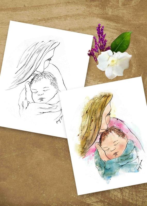Premier Baiser De La Mère Mère Tenant Nouveau Né Dessin Avec Aquarelle Brushwork Cadeau De Fête Des Mères Pour La Nouvelle Maman Téléchargement