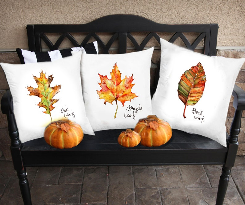 Watercolor Fall Leaves Set of 3 Maple Oak Birch Autumn Decorations Botanical Nature Art Prints or Pillow Covers Wall Decor