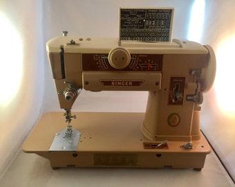 Singer 1950s Slant-O-Matic Heavy Duty Sewing Machine, Model 401A