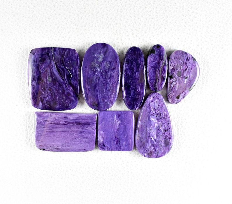 350 Carat Natural Dark-Purple Charolite Cabochon 8 Pieces Charoite Flat back Jewelry Designer Cabochon Mix Shape Gemstone For Jewelry R197
