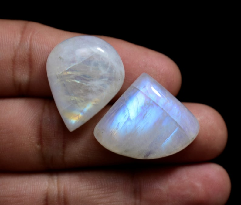 Blue Sheen Moonstone Cabochon 4pc Feldspar Metaphysical Flashy moonstone Gemstone ring size wholesale price Rainbow Cabs for jewelry R400