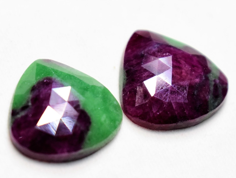 100/% Natural Ruby Zoisite Faceted Pair Earrings Cabochon Designer Healing Polished Ruby Zoisite Semi Precious Gemstone For Jewelry R1632