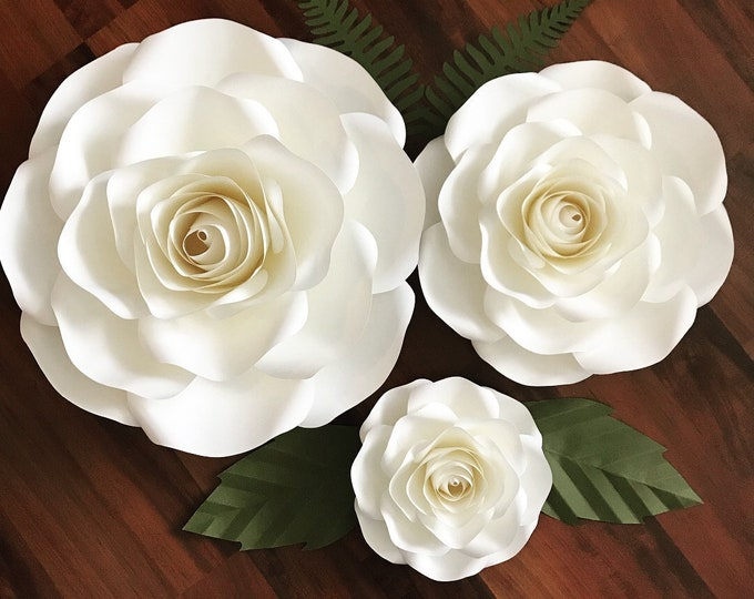 SVG/DXF for Large, Medium & Small Roses/Paper Flowers/Paper Flower Templates for Cutting Machines/DIY Giant Paper Flower Design/Flowers only