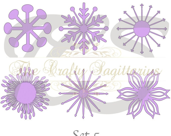 SVG Set 5-6 different Flat Center for Paper Flowers- MACHINE use Only (Cricut and Silhouette) DIY and Handmade Giant Paper Flower Templates