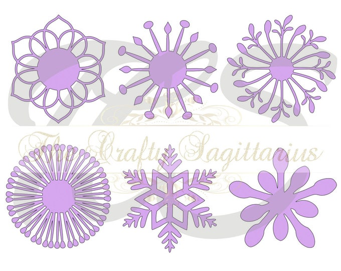 SVG Set 2-6 different Flat Center for Paper Flowers- MACHINE use Only (Cricut and Silhouette) DIY and Handmade Giant Paper Flower Templates