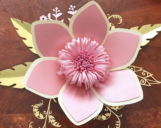 Paper Flowers -SVG Petal #15 Paper Flower Template with Base, DIGITAL - Original Design by Annie Rose - Cricut and Silhouette Ready