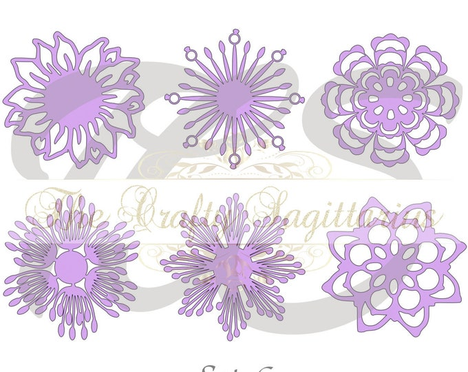 SVG Set 6-6 different Flat Center for Paper Flowers- MACHINE use Only (Cricut and Silhouette) DIY and Handmade Giant Paper Flower Templates