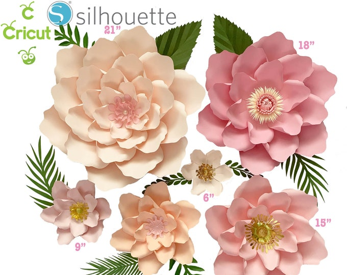 Svg Png Dxf Petal #21 Paper Flower UPDATED Template + 6 sizes Base + 5 Sizes Flat Center Digital file for Cutting Machines