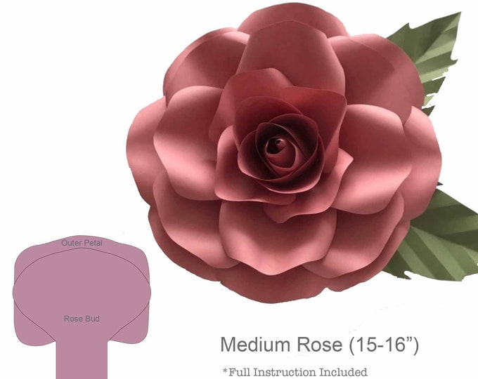 Paper Flowers -SVG New Medium Rose Paper Flower Template- DIY Cricut and Silhouette machines ready-Center Bud included