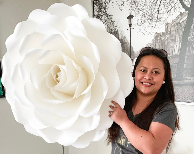 Extra Large PDF Full Size Rose 6 30-34 inches Rose when made Printable trace and Cut Paper Flower Templates / Stencils