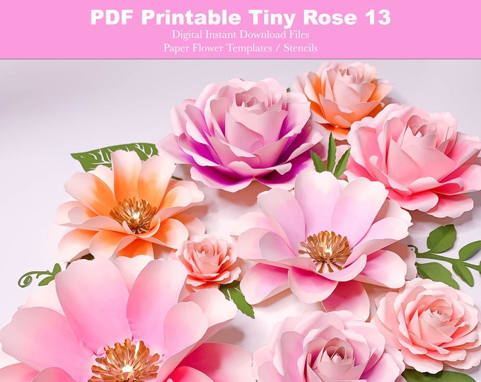 """6 Sizes Tiny Rose 13 Paper Flower Templates in Printable PDF Trace and Cut Digital Instant Download Files Make Unlimited 2-7"""" flowers"""