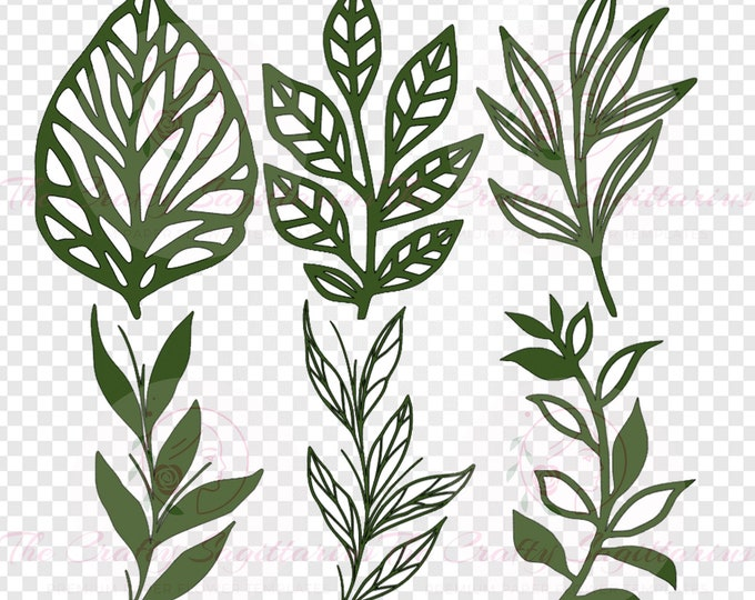 Set 36 Svg Png Dxf 6 different Leaves for Giant Paper Flowers MACHINE use Only Cricut and Silhouette DIY and Handmade Leaves Templates