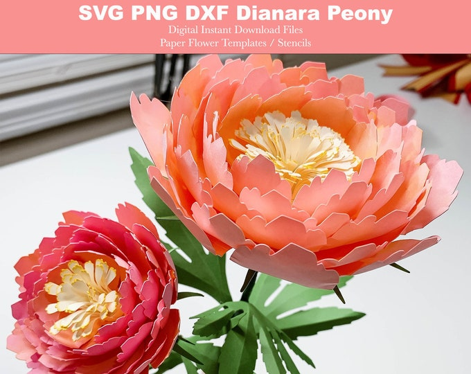 Diana Peonies on Stem Complete Course PAPER FLOWERS SVG Cut Files with Dxf Png for Cricut & Silhouette Cutting Machines Unlimited 6 Sizes