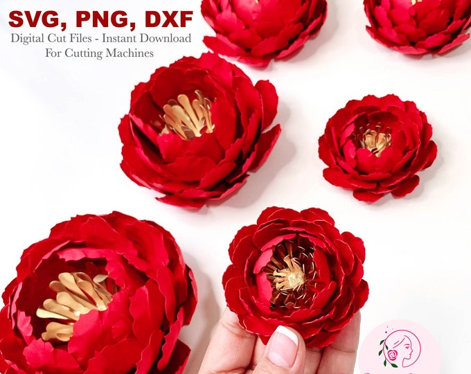 6 Sizes Bella Peonies PAPER FLOWERS SVG Cut Files with Dxf Png for Cricut and Silhouette Cutting Machines 2.5 to 7 inches peonies w/ center