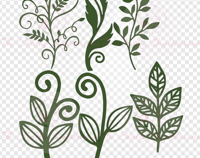 Set 39 Svg Png Dxf 6 different Leaves for Giant Paper Flowers MACHINE use Only Cricut and Silhouette DIY and Handmade Leaves Templates