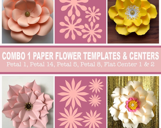 Combo 1 SVG PNG DXF Giant Paper Flower Templates | 3D Flower Pattern Stencil |  Flat Centers and Bases | Diy Craft Home Decor | 30 usd worth