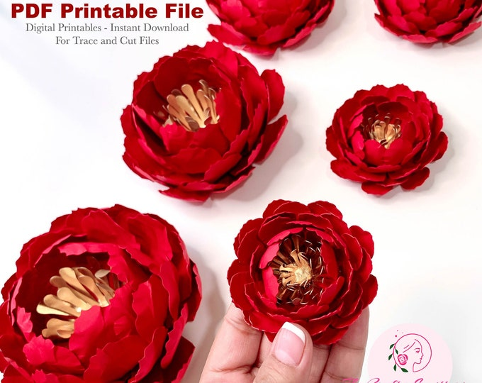 """6 Sizes Bella Mini Peony Paper Flower Templates in Printable PDF Trace and Cut Digital Instant Download Files Make Unlimited 2-7"""" flowers"""