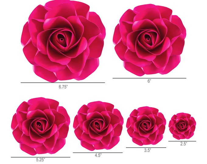 PDF Printable Tiny Rose 7 Cut Files Cutting Machine No resizing needed comes in 6 petal sizes 3-8 inches Rose Petal for bouquet