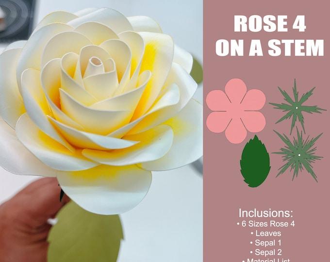 Rose 4 on a Stem Paper Flower Template; Complete Set, Ideal for Paper Flower Arrangements and Paper Flower Bouquet, Diy in SVG PNG DXF Tiff