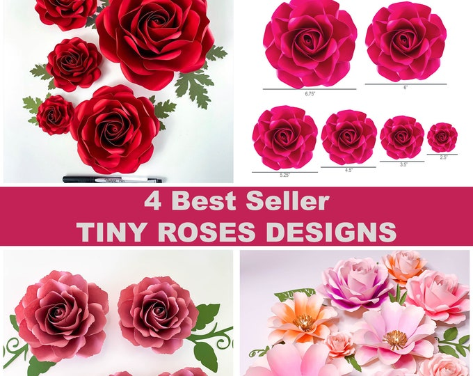 SVG PNG DXF 4 Best Seller Tiny Roses Designs   Paper Flower Templates   Instant Download Digital Files for Cricut and Cameo   3D Flowers Diy