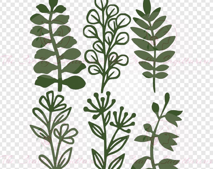 Set 37 Svg Png Dxf 6 different Leaves for Giant Paper Flowers MACHINE use Only Cricut and Silhouette DIY and Handmade Leaves Templates