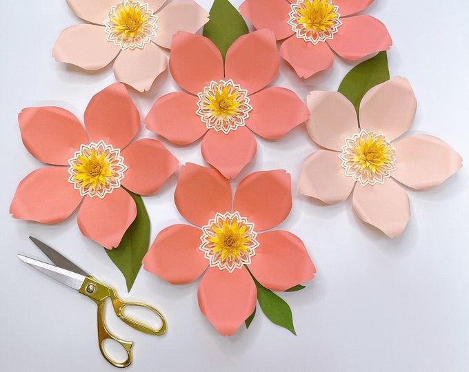 """8"""" PAPER FLOWERS MAGNOLIA Svg Png Dxf Tiff Cut Files for Cricut and Silhouette Cutting Machines Centers, base and Leaves Included"""