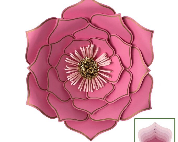 SVG DXF Petal 3 Paper Flowers Template Cricut Silhouette Cutting Machines Ready for Wedding and Event Decor and Paper Flower Backdrop