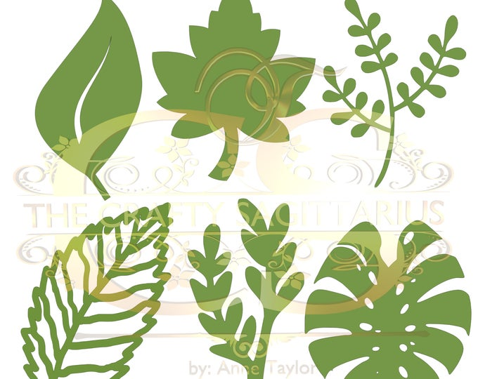 Svg Png Dxf Set 5-6 different Leaves for Giant Paper Flowers MACHINE use Only Cricut and Silhouette DIY and Handmade Leaves Templates