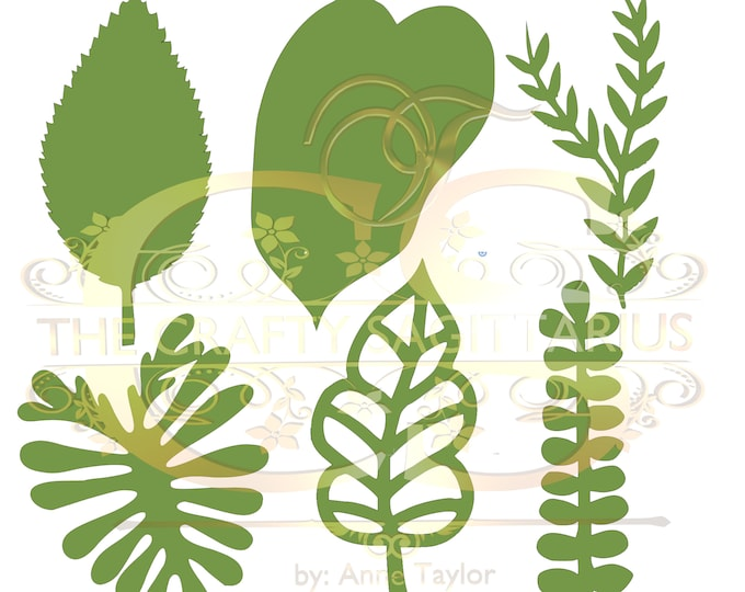 Svg PNG DXF Set 1-6 different Leaves for Paper Flowers Machine use Only Cricut and Silhouette DIY and Handmade Leaves Templates