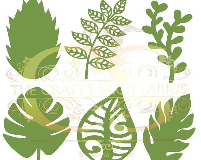 Svg/PNG Set 8-6 different Leaves for Paper Flowers- MACHINE use Only (Cricut and Silhouette) DIY and Handmade Leaves Templates