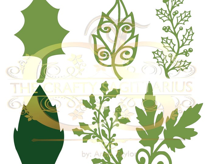 Svg PNG Dxf Set 17 Christmas set different Leaves for Paper Flowers- MACHINE use Only DIY and Handmade Leaves Templates