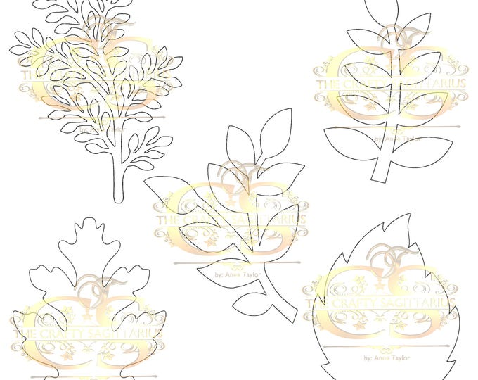 PDF Set 1 Leaves 5 different styles, 3 different Sizes Easy to Trace n Cut Greenery Pattern For your Paper Flowers and set: Instant Download